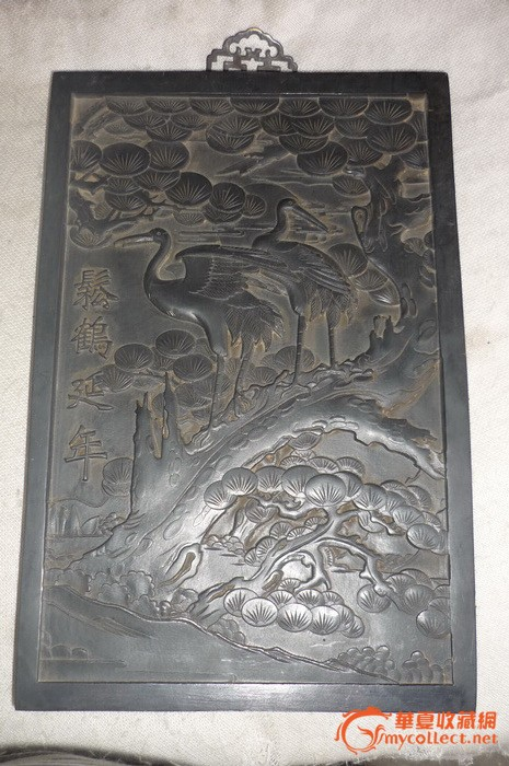 乌木雕刻松鹤延年 30.5x20.5x2.5厘米