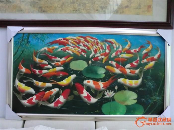 手绘油画 群鱼戏水
