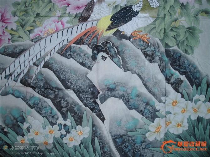 莫山 工笔重彩巨幅富贵牡丹图
