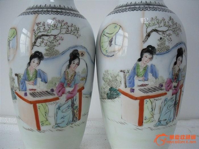 广彩童玩大碗 红色文革 醴陵国光68年出人物风景语录小碗一对 画工瓷