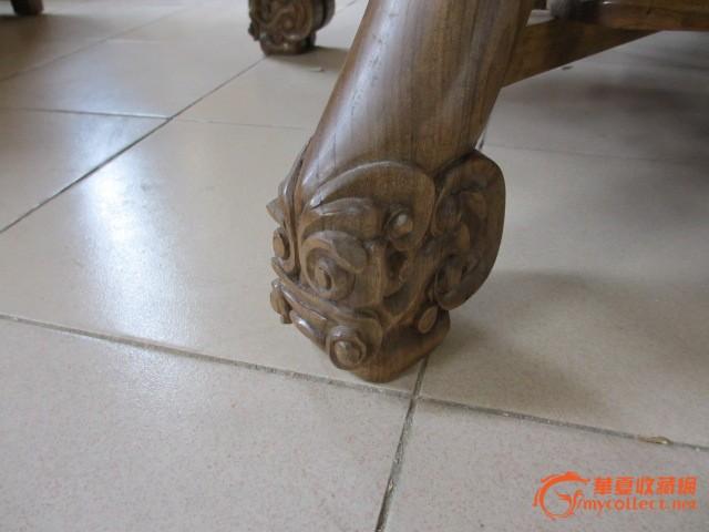 金丝楠木圆桌一套 带6把凳子