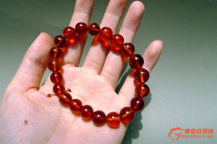 缅甸琥珀--收藏级别正樱桃红圆珠手串