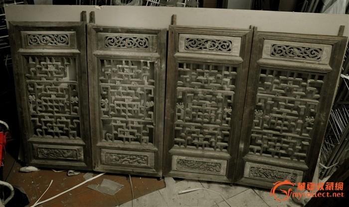 四片完整花窗 春夏秋冬 古建筑出售木雕花板明清古董木器