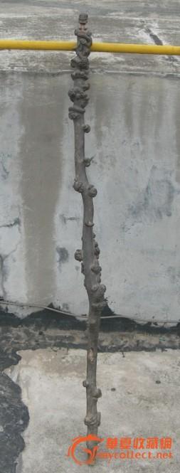 一根雕降龙罗汉和各种动物的老拐杖