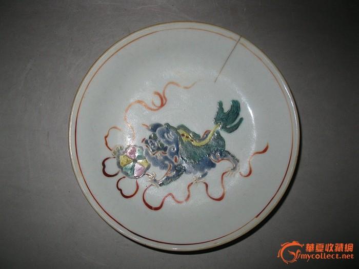 清嘉庆-粉彩-细路子-狮子戏绣球盘子