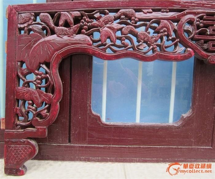 老式雕花花板木艺木雕,床楣床眉81号