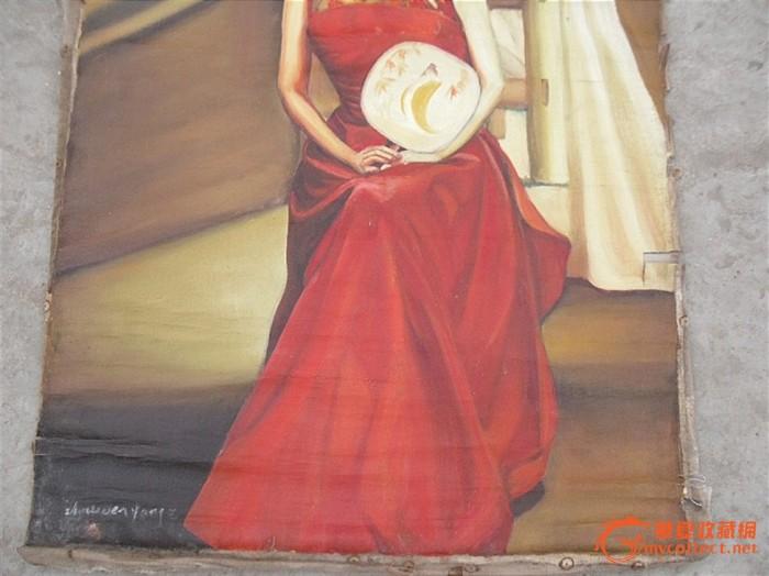 民国 旗袍美女油画