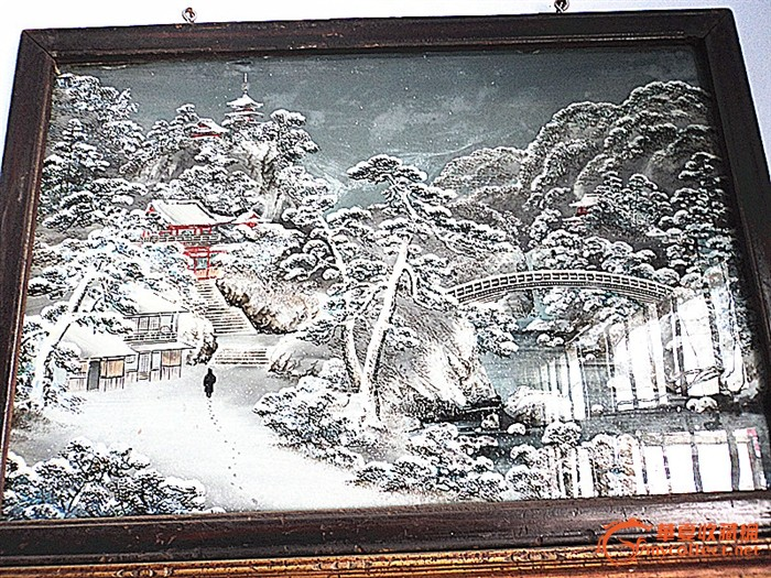日本富士山雪景玻璃画