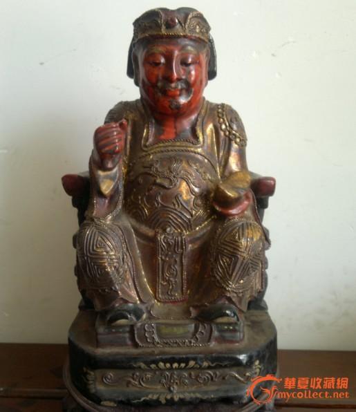 老香樟木-漆金坐财神佛像(包老)