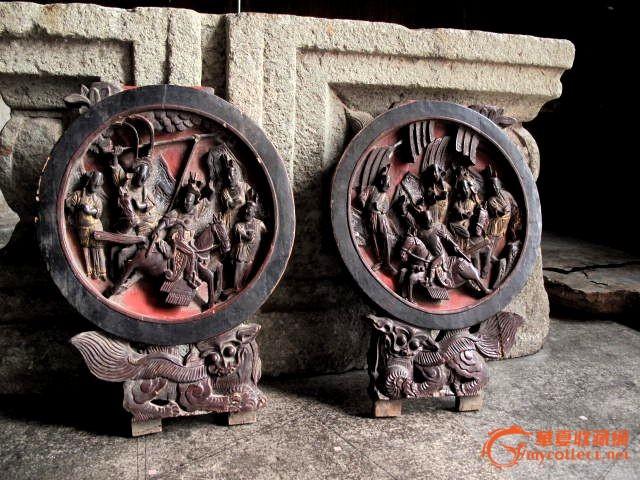 木雕圆镜一对_木雕圆镜一对价格_木雕圆镜一对图片_藏