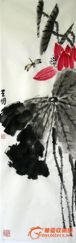 写意字画花鸟荷花蜻蜓