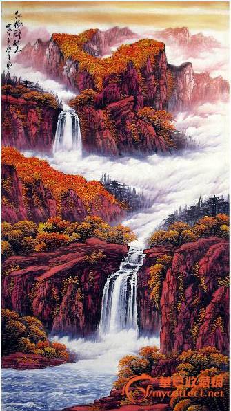 重彩山水国画分享展示
