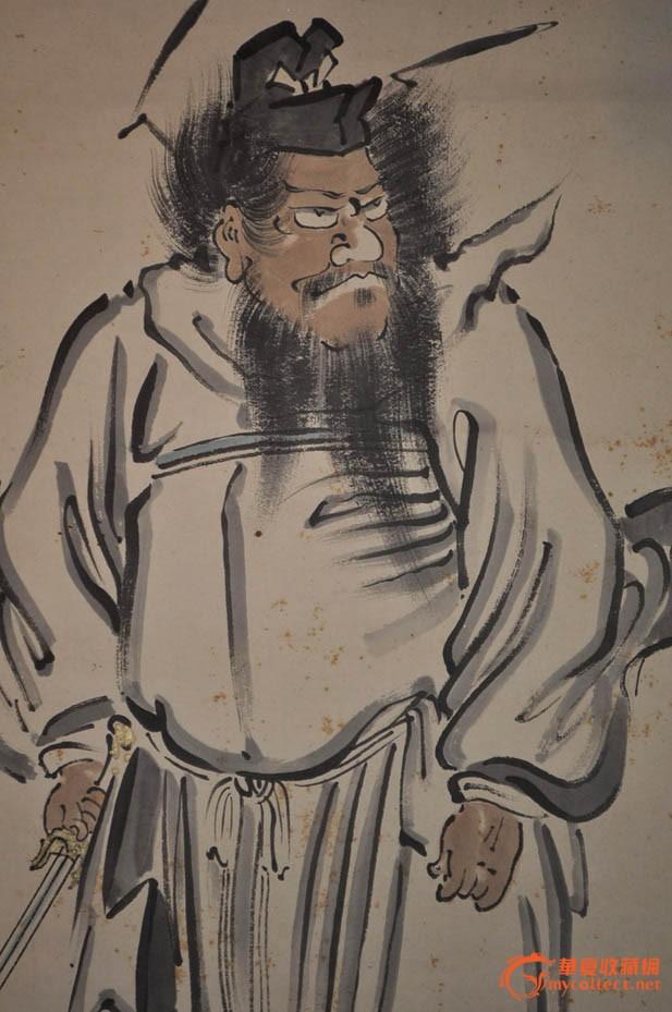民国日本画家清晏手绘水墨淡彩人物画《钟馗持剑》原作立轴