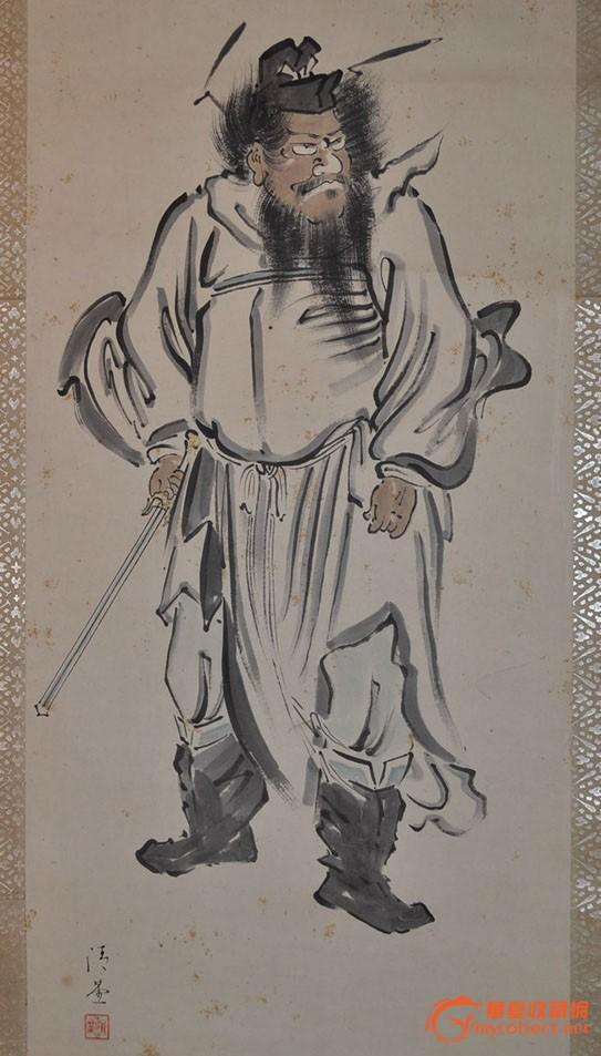 民国日本画家清晏手绘水墨淡彩人物画《钟馗持剑