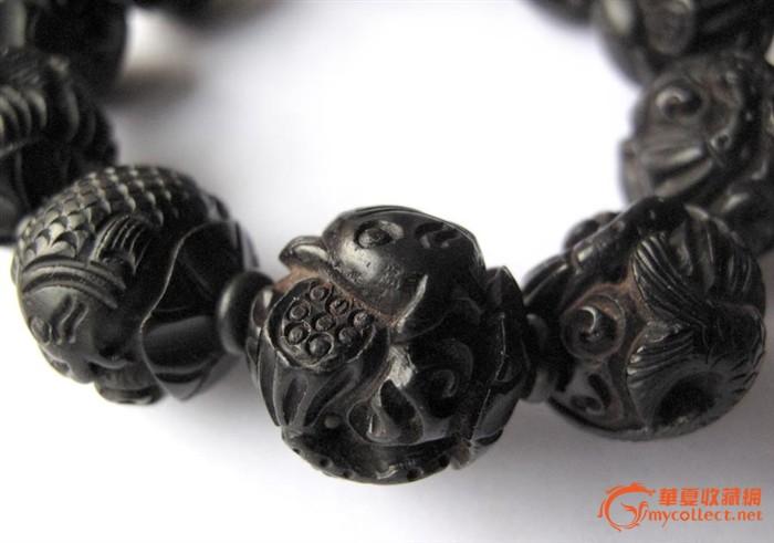 雕刻黑檀木手串 年年有余 直径1.9厘米