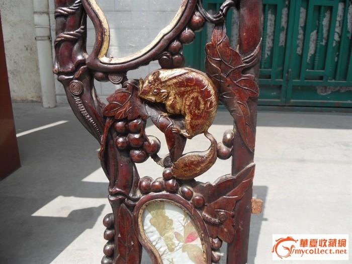 葡萄藤松鼠仙鹤精雕花板