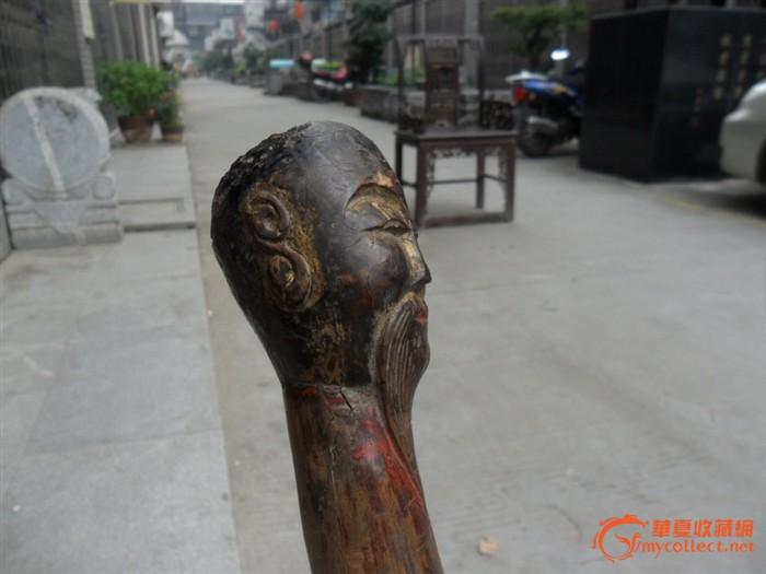 木雕寿星拐棍