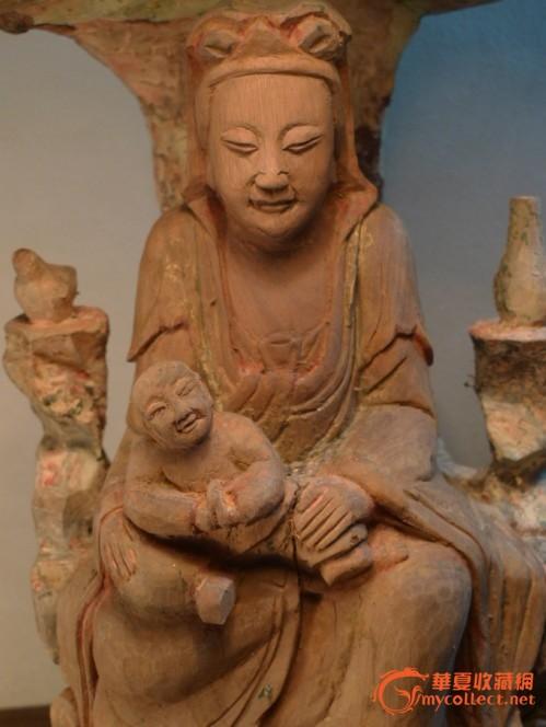 清代木雕送子观音菩萨像