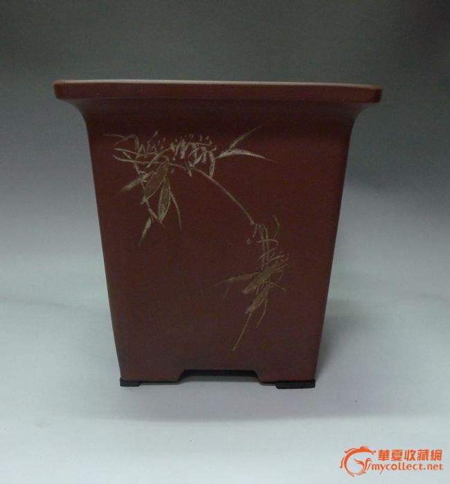 名家精品红波(谭泉海)刻四方千筒紫砂花盆