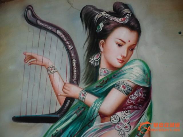 油画 竖琴仙女图片